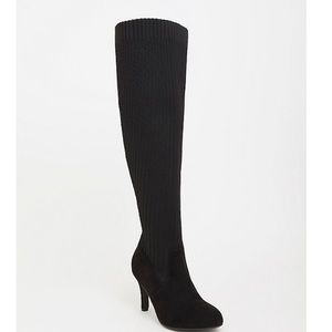 Black Knit Over the Knee Thigh High Boots
